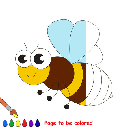 Bee to be colored, the coloring book to educate preschool kids with easy kid educational gaming and primary education of simple game level.