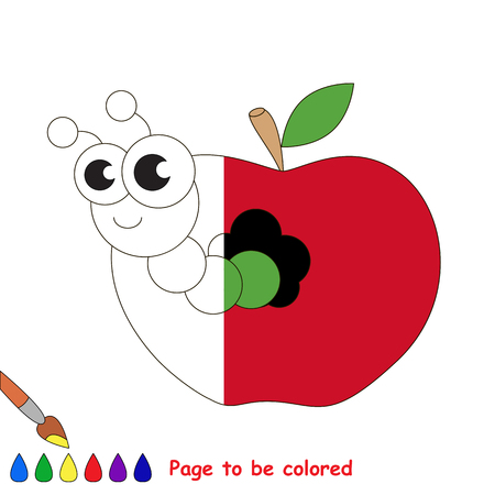 Apple worm to be colored, the coloring book to educate preschool kids with easy kid educational gaming and primary education of simple game level. Illustration
