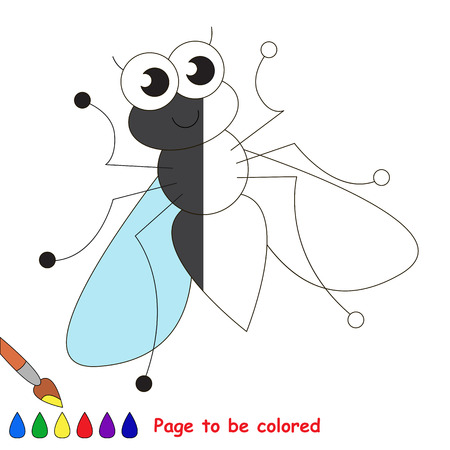 primeval: Cute fly to be colored, the coloring book to educate preschool kids with easy kid educational gaming and primary education of simple game level.