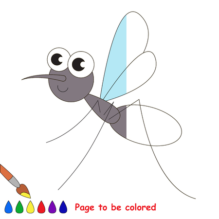Mosquito to be colored, the coloring book to educate preschool kids with easy kid educational gaming and primary education of simple game level. Illustration