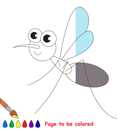 colorless: Mosquito to be colored, the coloring book to educate preschool kids with easy kid educational gaming and primary education of simple game level. Illustration