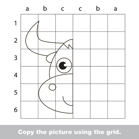 Vector kid educational game with easy game level for preschool kids education, finish the simmetrical picture using grid sells, the funny drawing kid school. Drawing tutorial for Yak.  イラスト・ベクター素材