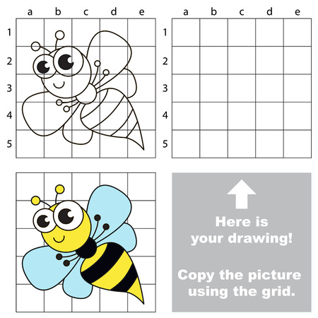 74023791 copy the picture using grid lines easy educational game for kids simple kid drawing game with wasp