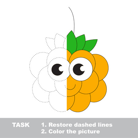 chicouté: Cloud berry in vector to be traced. Restore dashed line and color the picture. Visual game for children. Easy educational kid gaming. Simple level of difficulty. Worksheet for kids education. Illustration