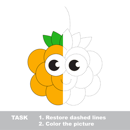 Cloud berry in vector to be traced. Restore dashed line and color the picture. Visual game for children. Easy educational kid gaming. Simple level of difficulty. Worksheet for kids education.