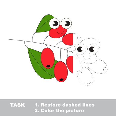 Barberry in vector to be traced. Restore dashed line and color the picture. Visual game for children. Easy educational kid gaming. Simple level of difficulty. Worksheet for kids education. Illustration