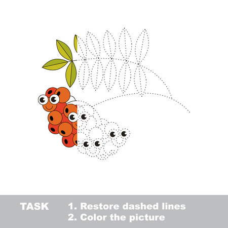 Rowan in vector to be traced. Restore dashed line and color the picture. Visual game for children. Easy educational kid gaming. Simple level of difficulty. Worksheet for kids education.