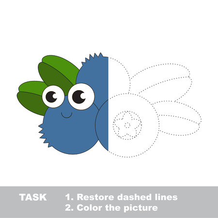 Blueberry in vector to be traced. Restore dashed line and color the picture. Visual game for children. Easy educational kid gaming. Simple level of difficulty. Worksheet for kids education.