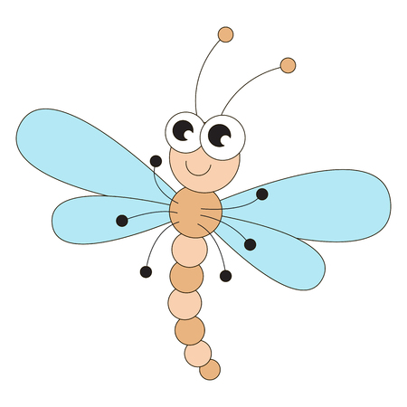 Funny dragonfly cartoon. Outlined character with black stroke.