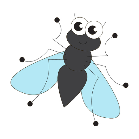 bothersome: Cute fly cartoon. Outlined character with black stroke.