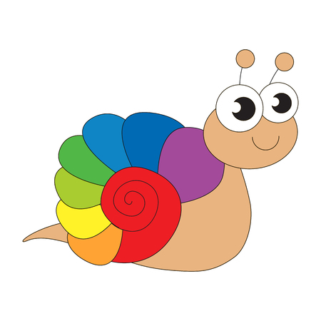 cochlea: Rainbow snail cartoon. Outlined character with black stroke. Illustration