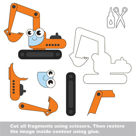 Use scissors and glue and restore the picture inside the contour. Easy educational paper game for kids. Simple kid application with Excavator. Illustration