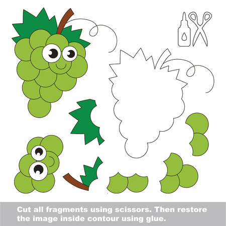 Use scissors and glue and restore the picture inside the contour. Easy educational paper game for kids. Simple kid application with White Grapes. Ilustrace
