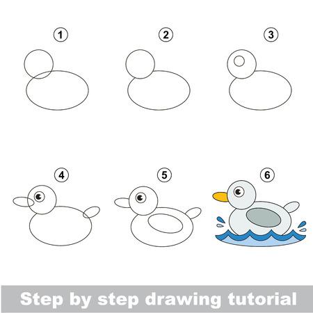 L'éducation des enfants et des jeux - le tutoriel de dessin pour les enfants d'âge préscolaire avec un niveau de jeu éducatif enfant facile, l'école de dessin drôle. Comment dessiner un canard mignon.
