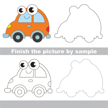 Drawing worksheet for children. Easy educational kid game. Simple level of difficulty. Finish the picture and draw the Funny Car Illustration