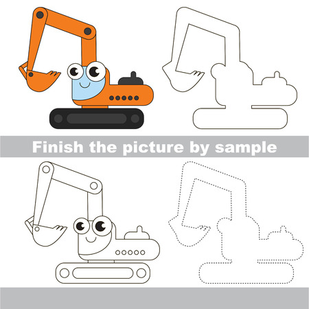 Drawing worksheet for children. Easy educational kid game. Simple level of difficulty. Finish the picture and draw the cute Excavator Çizim