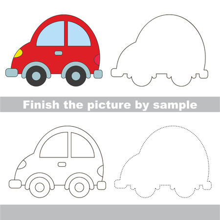 Drawing worksheet for children. Easy educational kid game. Simple level of difficulty. Finish the picture and draw the Car Illustration