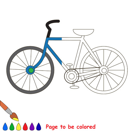 a two wheeled vehicle: Kid game to be colored by example half. Illustration