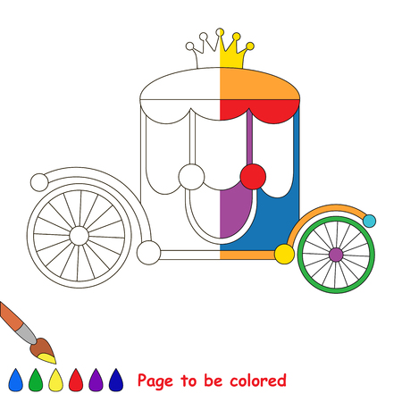 chariot: Kid game to be colored by example half. Illustration