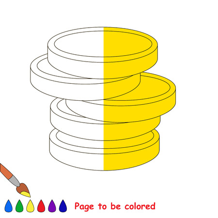 easy money: Kid game to be colored by example half. Illustration