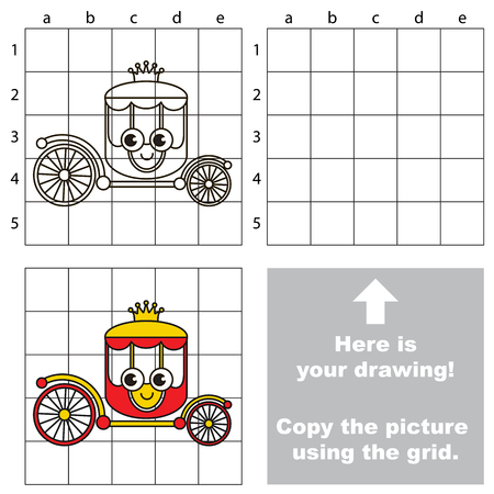 Copy the picture using grid lines, the simple educational game for preschool children education with easy gaming level, the kid drawing game with Funny Chariot 向量圖像