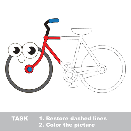 a two wheeled vehicle: Two wheeled funny bicycle. Trace and color the colorless half. Dot to dot educational game for kids.