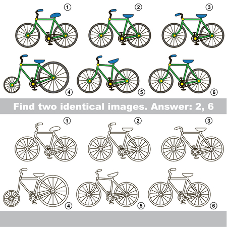 a two wheeled vehicle: The educational kid matching game for preschool kids with easy gaming level, he task is to find similar objects, to compare items and find two same Two wheeled Bicycles