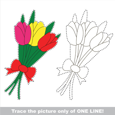 The tulip bouquet with three tulips. Dot to dot educational game for kids.