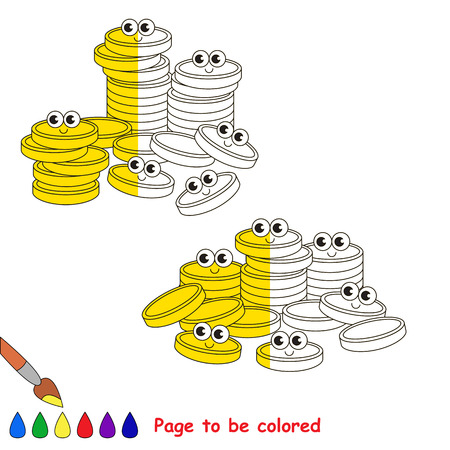 easy money: A Lot af Gold Cash Coins, the coloring book to educate preschool kids with easy gaming level, the kid educational game to color the colorless half by sample.