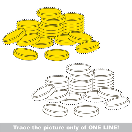 A lot of cash gold coins. Dot to dot educational game for kids.