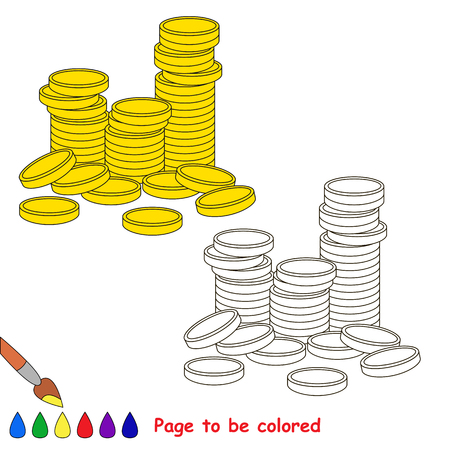 A lot of Gold Cash Coins to be colored, the coloring book for preschool kids with easy educational gaming level.