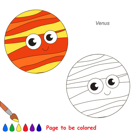 Cute Venus Planet to be colored, the coloring book for preschool kids with easy educational gaming level.