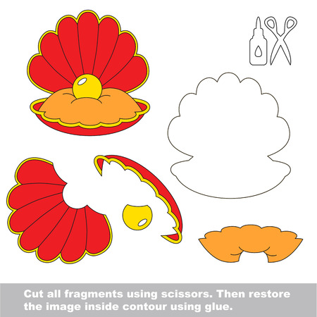 Use scissors and glue and restore the picture inside the contour. Easy educational paper game for kids. Simple kid application with Red Oyster and Gold Pearl Illustration