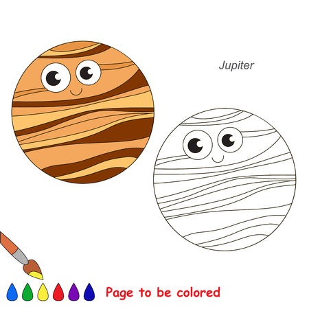 Funny Jupiter Planet to be colored, the coloring book for preschool kids with easy educational gaming level.