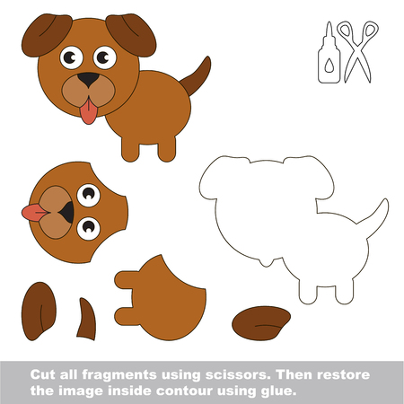 Use scissors and glue and restore the picture inside the contour. Easy educational paper game for kids. Simple kid application with Brown Dog Puppy