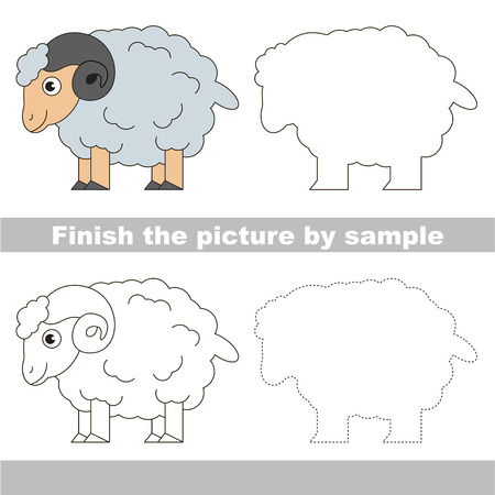 Drawing worksheet for preschool kids with easy gaming level of difficulty, simple educational game for kids to finish the picture by sample and draw the White Bighorn Sheep 向量圖像
