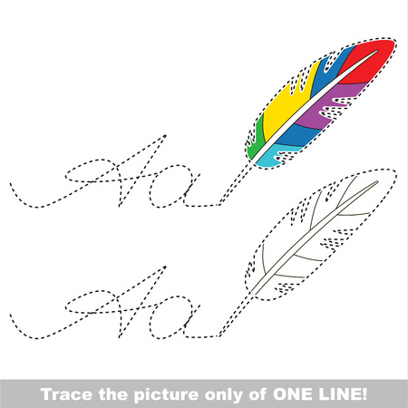 dashed: Rainbow Colorful Feather and letter A. Dot to dot educational game for kids.