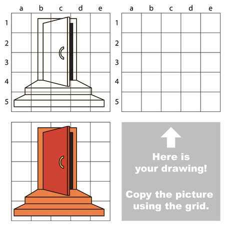 Copy the picture using grid lines, the simple educational game for preschool children education with easy gaming level, the kid drawing game with Door Entrance