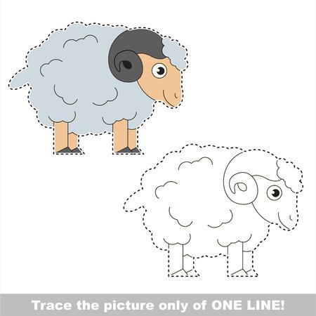 dashed: Beautiful Bighorn Sheep. Dot to dot educational game for kids.