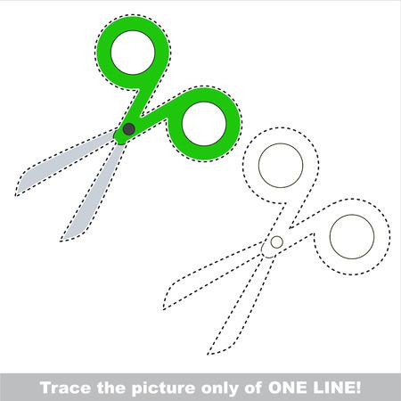 Green Scissors. Dot to dot educational game for kids.