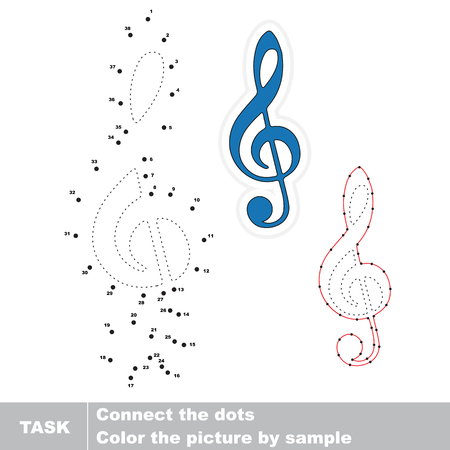 Blue Treble Clef. Dot to dot educational numbers game for preschool kids. 向量圖像