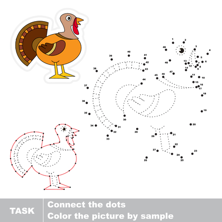 Beautiful Turkey. Dot to dot educational numbers game for preschool kids. Illustration