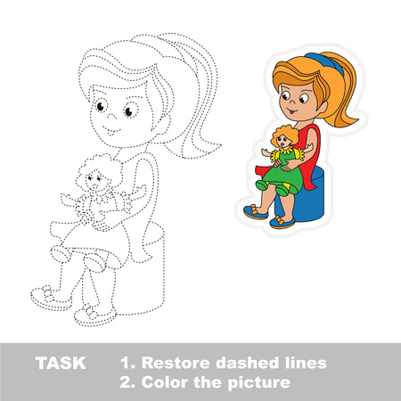 pondering: Small Girl and her Doll. Dot to dot educational tracing game for preschool kids. Illustration