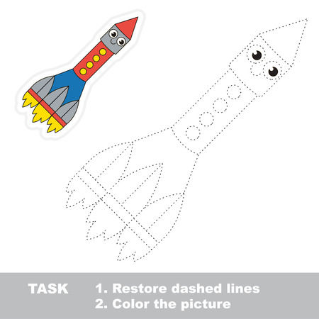 dashed: Funny Cute Rocket. Dot to dot educational game for kids. Illustration