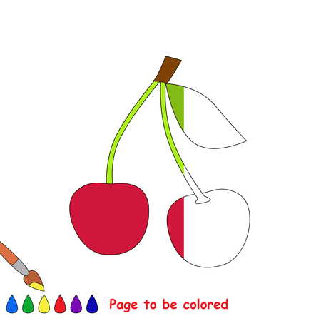Two Red Cherries in vector to be traced, restore dashed line and color the picture, the simple visual game with easy education game level for preschool kids.