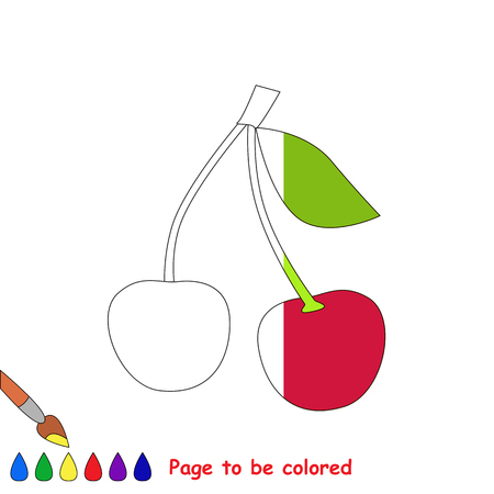 dashed: Two Red Cherries in vector to be traced, restore dashed line and color the picture, the simple visual game with easy education game level for preschool kids.