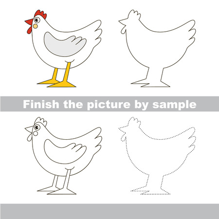 Drawing worksheet for preschool kids with easy gaming level of difficulty, simple educational game for kids to finish the picture by sample and draw the Cute Beautiful Hen