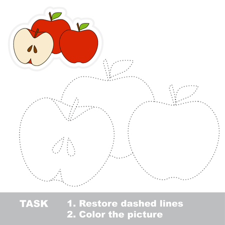 Three Apples. Dot to dot educational tracing game for preschool kids.