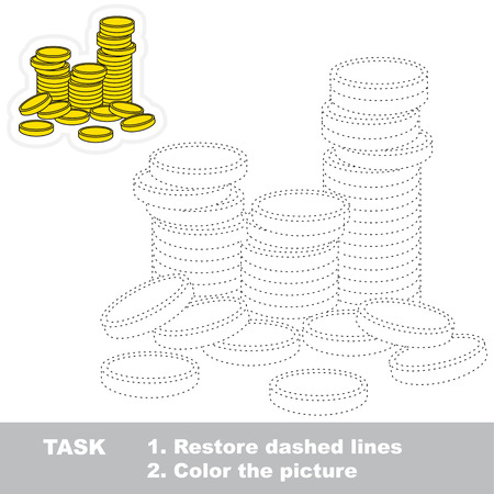 A lot of Gold Coins. Dot to dot educational tracing game for preschool kids.
