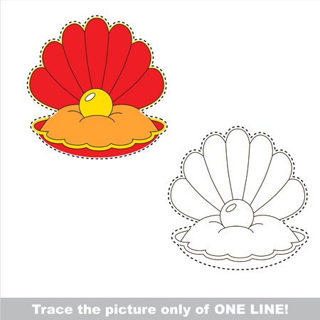 Red Seashell and Gold Pearl. Dot to dot educational game for kids.